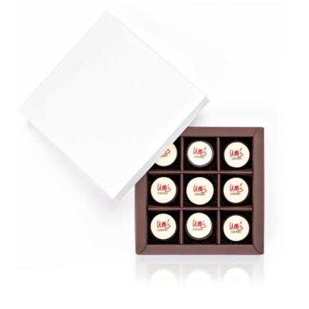 Logopralinen in der Schachtel, 9 Stück