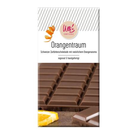 Feinste Zartbitterschokolade mit Orangenaroma - handgefertigt. 100g Tafel