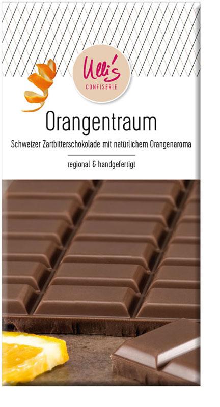 Schweizer Zartbitterschokolade mit natürlichem Orangenaroma