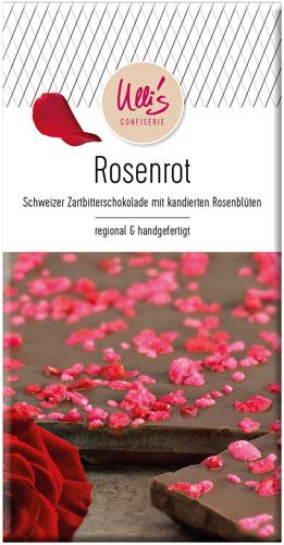 Schweizer Zartbitterschokolade mit kandierten Rosenblüten