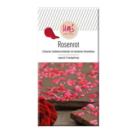 Zartbitterschokolade mit kandierten Rosenblüten