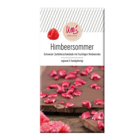 Schweizer Zartbitterschokolade mit fruchtigen Himbeernils