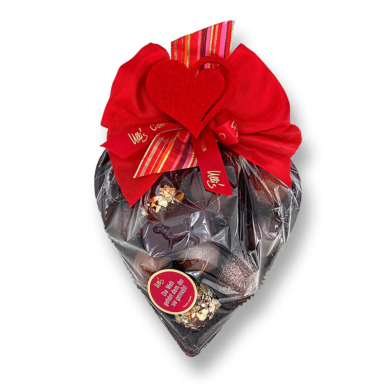 Muttertag Schokoladenherz groß, Zartbitter, mit Pralinen befüllt