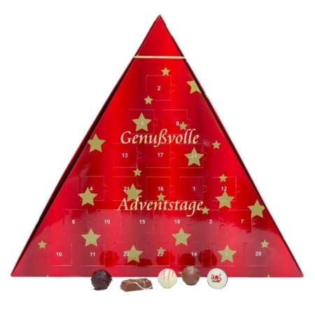 "Confiserie Adventskalender ""Dreieck"" mit Pralinen befüllt"