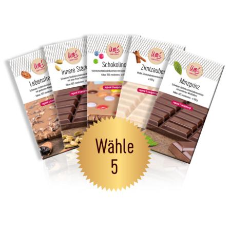 schokolade Probierpaket mit 5 Tafeln nach Wahl