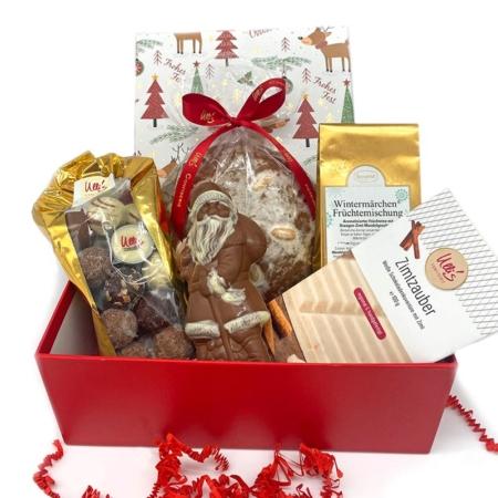Schokolade Geschenkbox für Weihnachten mit Pralinen, Nikolaus, Tee, Zimtschokolade und Elisen Lebkuchen