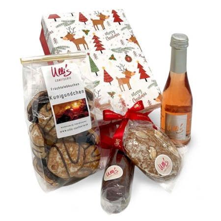 Schokolade Geschenkbox Weihnachten mit Lebkuchen, Marzipanbrot und Prosecco