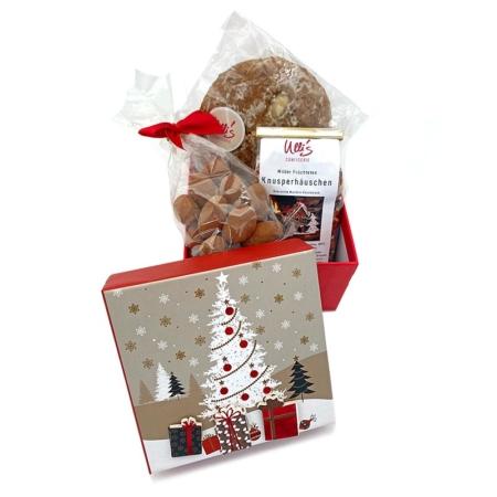 Geschenkbox Weihnachten mit Lebkuchen, Sahne-Kakao-Mandeln und Tee