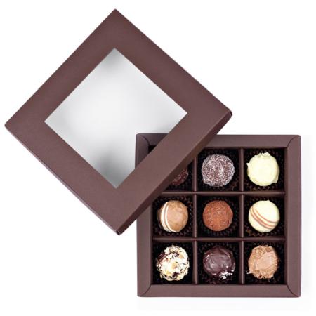 Ulli´s handgemachte Pralinen, 9 Stück in einer dunkelbraunen Schachtel