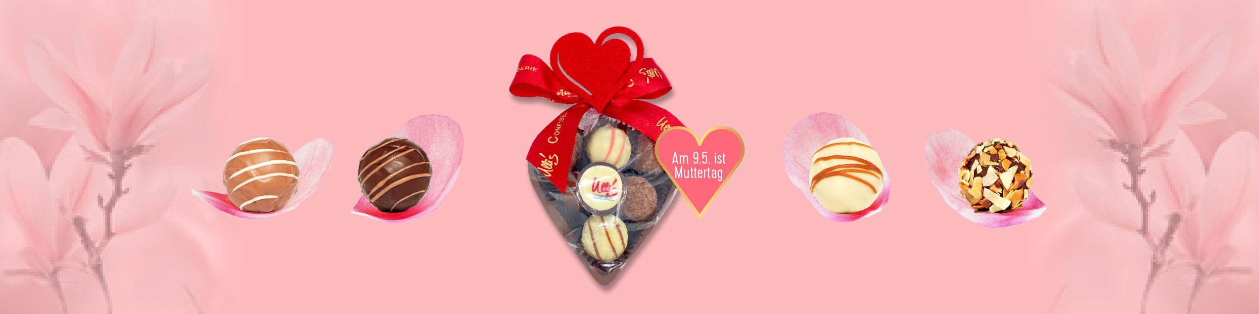 Muttertag handgemachte Schokolade und Pralinen
